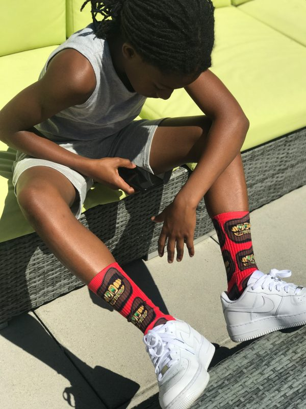 OE Gold and Green Grill Red Junior Socks