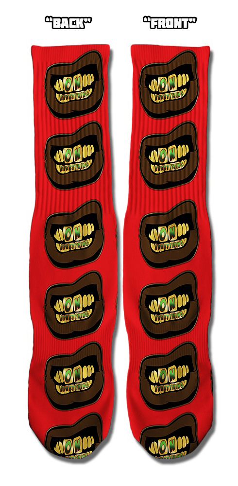OE Gold and Green Grill on Red Socks
