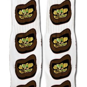 OE Gold and Green Grill on White Socks