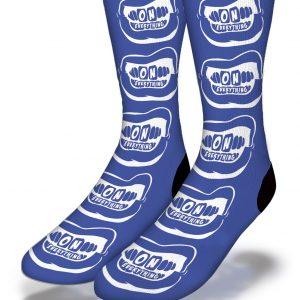 OE White Grill on Blue Socks