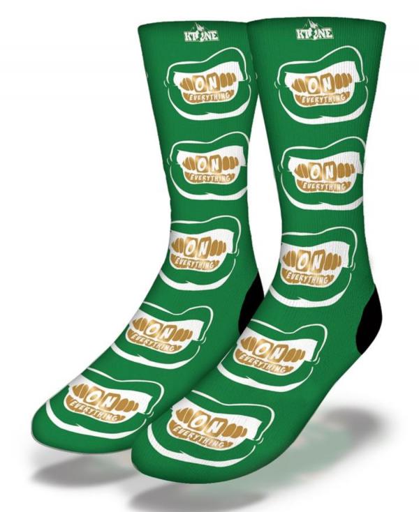 DJ Ktone OE Gold Grill on Green Socks