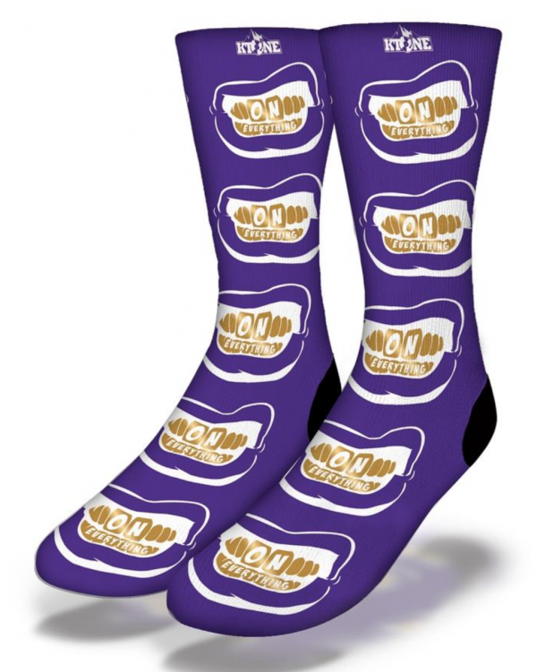 DJ Ktone OE Gold Grill on Purple Socks