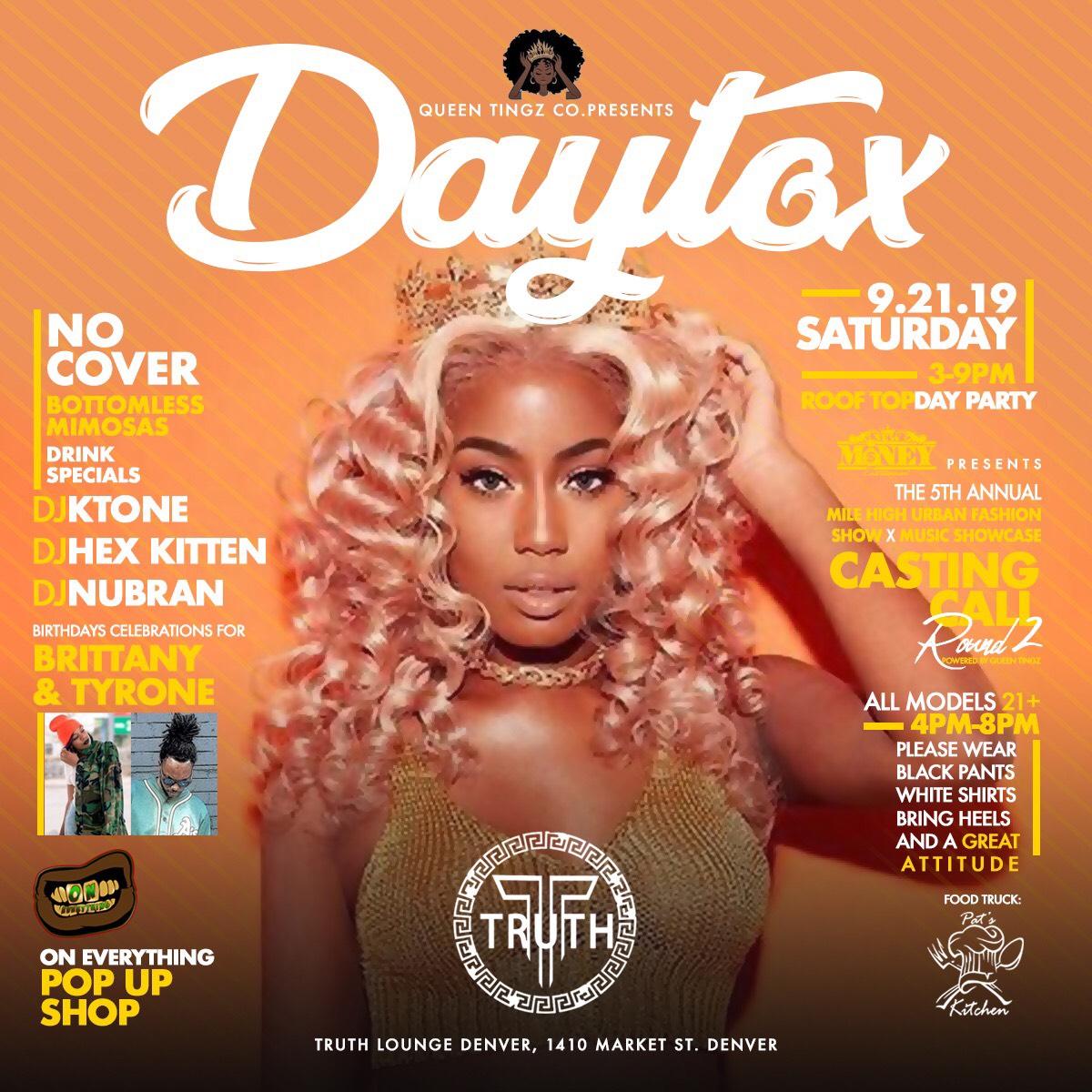 - Daytox day party every Saturday in Denver, Colorado 2019