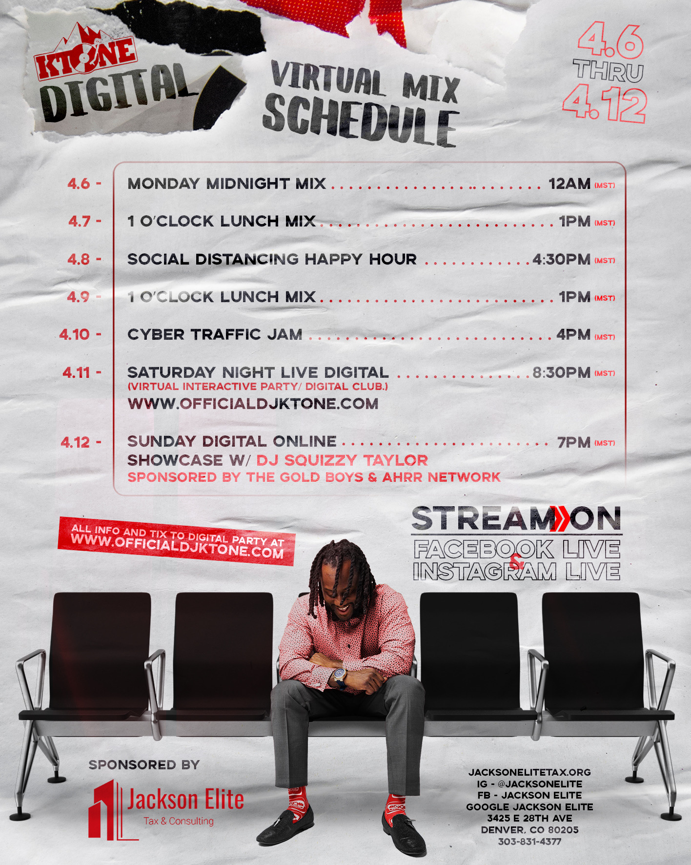 Dj Ktone digital schedule April 2020