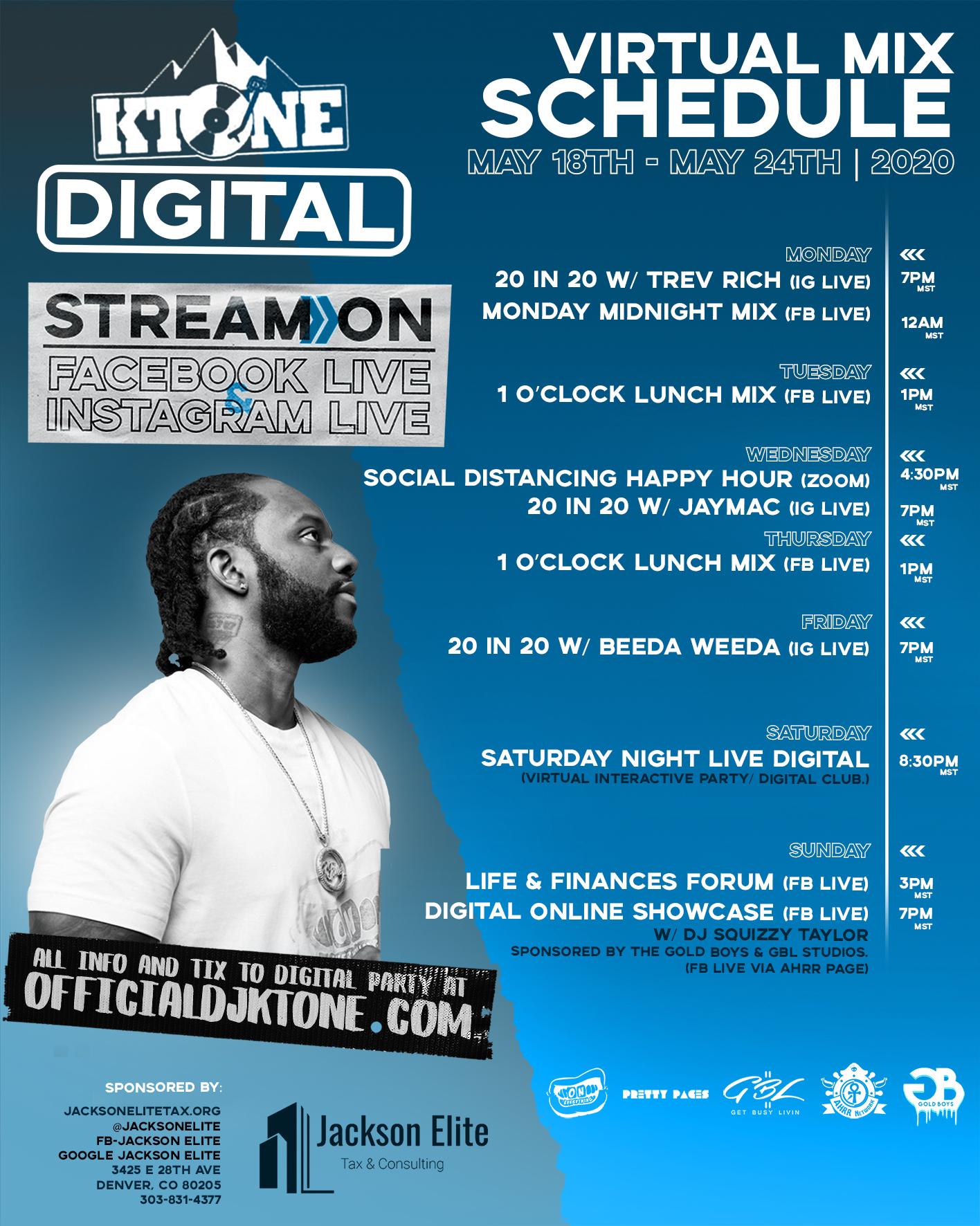 DJ Ktone Virtual Mix Schedule May 2020