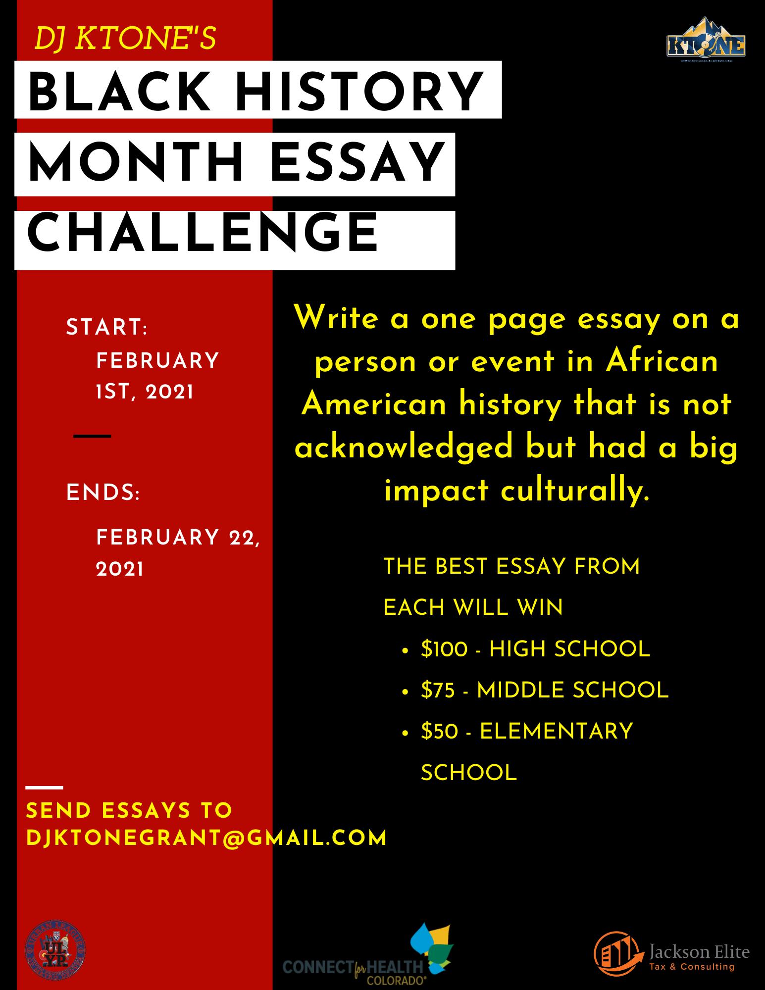 Black History Month Essay Challenge